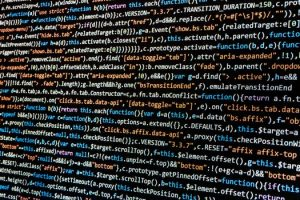 Rows of code that is not seen by the public behind website design.